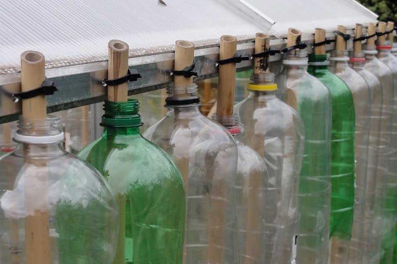 Способ крепления бутылок на бамбуковых палках