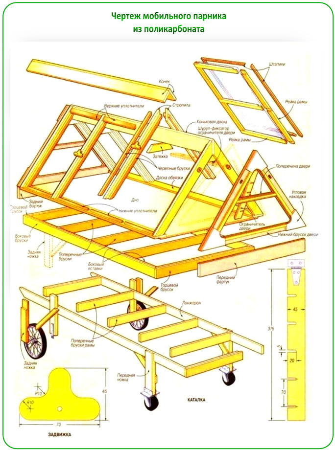 Схема сборки парника на колесиках