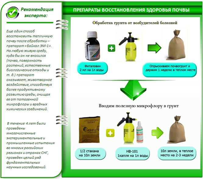 Обработка почвы в теплице биопрепаратами