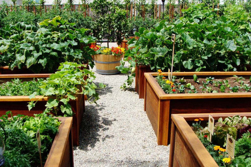 На фото, вы можете увидеть, варианты отделки овощных стеллажей, с помощью краски, морилки или просто украсив их цветами