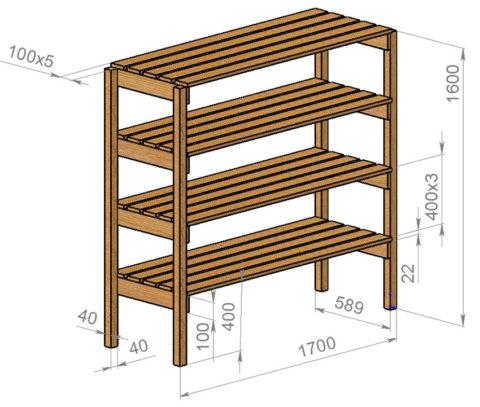 Надежная конструкция для банок или инструментов.