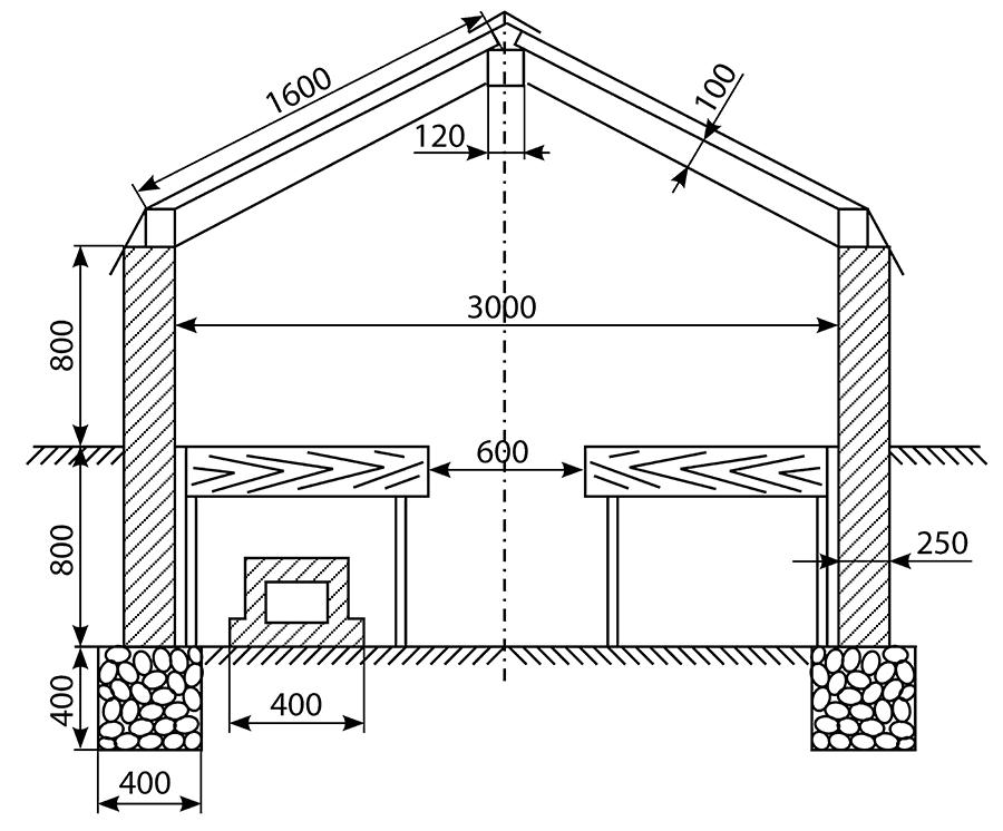 Примерная схема размещения стеллажей вы теплице стандартного размера