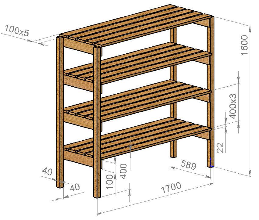 Примерная схема стеллажа для теплицы