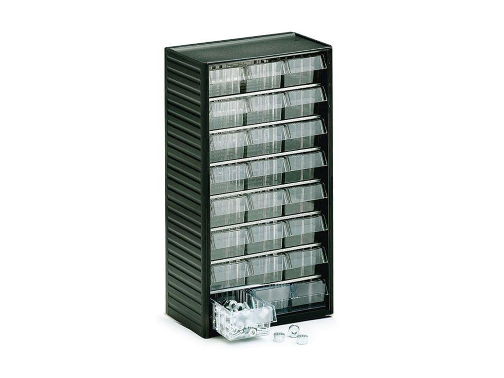 Стеллаж с прозрачными ящиками