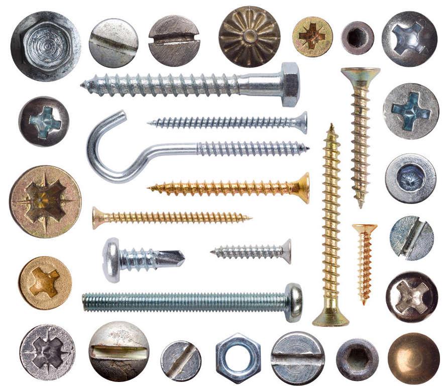 Виды крепежа, для различных конструкций в зависимости от материала, и способа крепления. Для каждой конструкции крепёж подбирается индивидуально в зависимости от требований и технических характеристик
